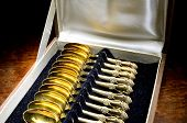 Box Of Vintage Gold-plated Teaspoons