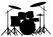 stock photo of drum-kit  - Silhouette of a rock bands drum kit isolated on white - JPG