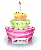 foto of cream cake  - Illustration of a cartoon appetizing mouth watering birthday and anniversary holidays cake with sweet fruits and cream - JPG