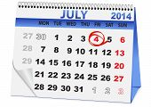 calendar for Independence Day on July 4