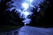 Stunning Lightning on a road
