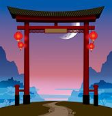 Vector image of the chinese gate with red lights on a hill with a footpath against the background of