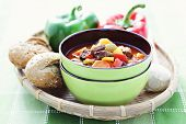 bowl of delicious goulash with vegetables - food and drink