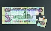 image of dirhams  - UAE One Thousand Dirham note cut into jigsaw puzzle pieces - JPG