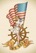 Old-school US NAVY tattoo of a pin-up lady with the flag in her hand. Raster image (check my portfolio for options.)