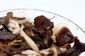 Salted Mushrooms In Glass Dish