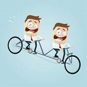 stock photo of tandem bicycle  - businessmen riding a tandem bike - JPG