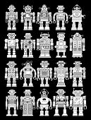 Vintage Tin Toy Robot Collection in Black Background
