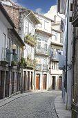 City Street Of Guimaraes In Portugal