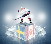 Final game Sweden vs Canada. Hockey player on ice cube
