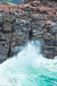 Thunderous Waves Splashing On Cliffs