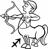 foto of centaur  - Black and White Cartoon Illustration of Sagittarius or The Archer or Centaur Horoscope Zodiac Sign for Coloring Book - JPG