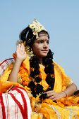 Girl Dressed As Rukmini, Wife Of Lord Krishna ,India