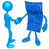 Home Construction Blueprint Handshake