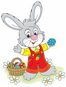 pic of cony  - Rabbit with a basket of painted Easter eggs - JPG