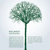 picture of tree trim  - vector eco template with round trimmed tree - JPG
