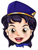 Illustration of a goodlooking stewardess on a white background