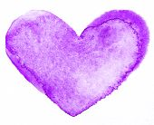 Watercolor painted purple heart, for your design