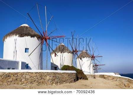 Traditional whitewashed windmills on island of Mykonos, Greece, Traditional whitewashed windmills on island of Mykonos, Greece.