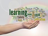 Concept or conceptual learning and education abstract word cloud, human man hand, rainbow sky backgr