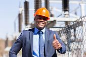 image of electrical engineering  - handsome african american electrical manager giving thumb up - JPG