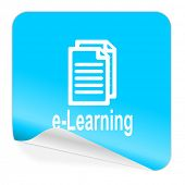 learning blue sticker icon