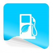 biofuel blue sticker icon