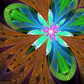 Multicolor Beautiful Fractal Flower In Green And Brown. Computer Generated Graphics.
