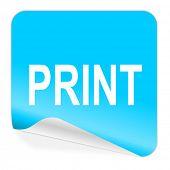 print blue sticker icon