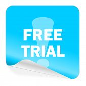 free trial blue sticker icon