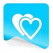 love blue sticker icon
