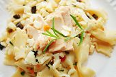 Tuna Fish On Top Of Bowtie Pasta Salad