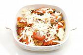 Casserole Dish Full Of Eggplant Parmesan
