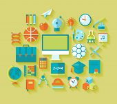 Set of flat education and school icons for design