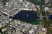 Binnenalster lake at Hamburg's city center, aerial view