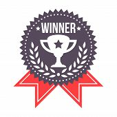 image of trophy  - Beautiful Winner Prize Badge With Trophy Icon - JPG