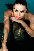 beauty sexy face woman in water