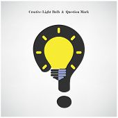 Creative Light Bulb Symbol And Question Mark Sign