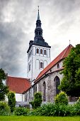 View on St. Nicholas' Church (Niguliste) and ancient houses. Old city Tallinn Estonia