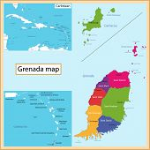 Map of Grenada drawn with high detail and accuracy. Grenada is divided into provinces which are colo