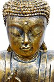 stock photo of siddhartha  - golden buddha face isolated on white close up - JPG