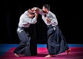picture of aikido  - Fight between two aikido fighters on black - JPG
