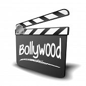 detailed illustration of a clapper board with Bollywood term, symbol for film and video genre, eps10