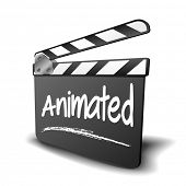detailed illustration of a clapper board with Animated term, symbol for film and video genre, eps10