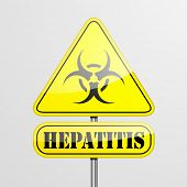 detailed illustration of a yellow Hepatitis biohazard warning sign, eps10 vector