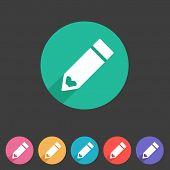 Flat pencil icon, colorful icon