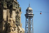 picture of christopher columbus  - Cable car from Montjuic in Barcelona Spain with iron tower in the foreground  - JPG