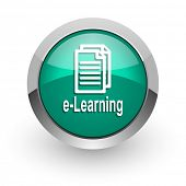 learning green glossy web icon