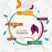 Vector floral design swirl autumn infographic report, banner with options on stickers, abstract flyi