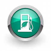 biofuel green glossy web icon
